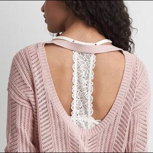 American Eagle Sweater Open Back Loose Knit